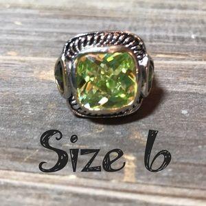 Faux citrine peridot stone fashion chunky ring 6